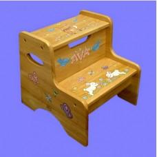 2-Step Stools / No Storage / Special Design /Bunnies, Deer, Bluebirds, Dragonflies, Butterflies and Flowers
