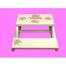 "Reg. or Large Step Stools /NATURAL or WHITE / ""Flower Bunches"""