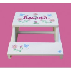 "Reg. or Large Step Stools /NATURAL or WHITE / ""Flowers, Butterflies & Ladybugs"""