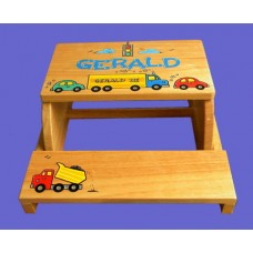 "Reg. or Large Step Stools /NATURAL or WHITE / ""Cars & Trucks"""