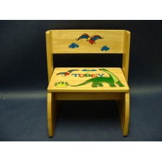 "Reg. or Large Step Stools /NATURAL or WHITE / ""Dinosaurs"""