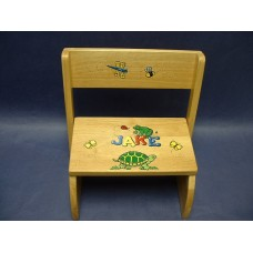 "Reg. or Large Step Stools /NATURAL or WHITE / ""Frogs, Turtle & Bugs"""