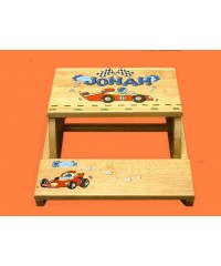 "Step Stools /NATURAL or WHITE / ""Race Car"""