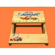 "Reg. or Large Step Stools /NATURAL or WHITE / ""Race Car"""