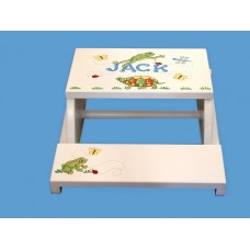 "Step Stools /NATURAL or WHITE / ""Frogs,Turtles & Bugs"""