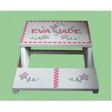 "Step Stools /NATURAL or WHITE / ""Roses & Checkerboard"""