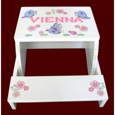 "Large or Reg. Size Step Stools / ""Flowers, Butterflies & Ladybugs"" WHITE or NATURAL"
