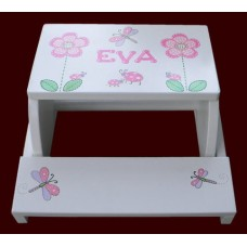 "Step Stools /NATURAL or WHITE / ""Daisies, Dragonflies & Ladybugs"""