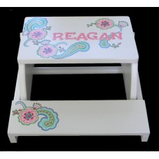"Reg. or Large Step Stools /NATURAL or WHITE / ""Pastel Paisley"" CUSTOM DESIGN"
