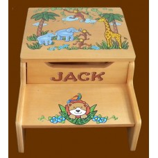 "2-Step Storage Stools /Natural /""Jungle Animals"" 1"