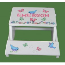 "Step Stools /NATURAL or WHITE / ""Birds & Butterflies"""