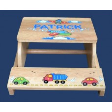 "Step Stools /NATURAL or WHITE / ""Cars, Trucks & Airplanes"""
