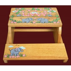 "Reg. or Large Step Stools /NATURAL or WHITE / ""Elephants & Flowers"""