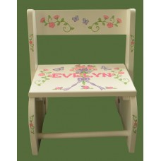 "Reg. or Large Step Stools /NATURAL or WHITE / ""Flower Bouquet"""