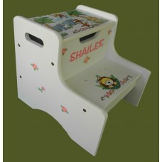 "2-Step Storage Stools /White /""Jungle Animals"" 2"