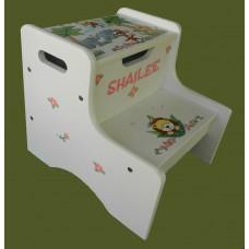 "2-Step Storage Stools /White /""Jungle Animals"" 2"