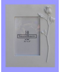 Single Rose Picture Frames /White