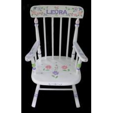 Rocking Chairs /Medium White Rocker /DAISIES & PLAID