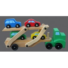Car Carrier and Cars Wooden Toy Set